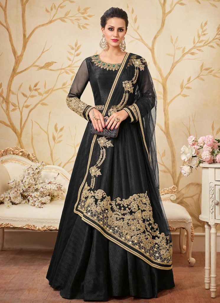 Black-Anarkali-Suits-Designs-Online-Engagement-Ceremony