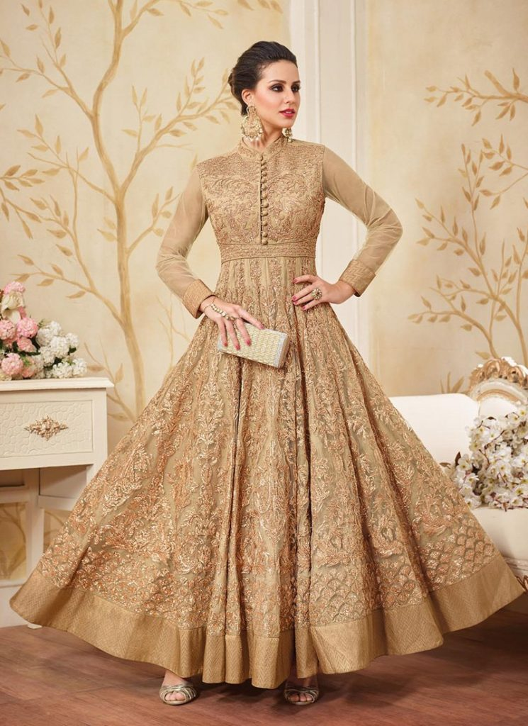 Golden-Anarkali-Suits-Designs-Online-Engagement-Ceremony