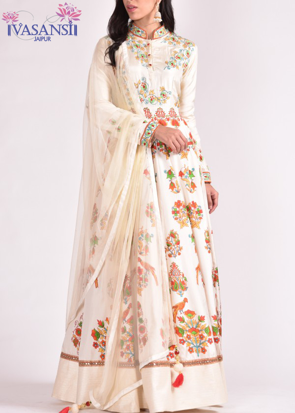slik anarkali dress