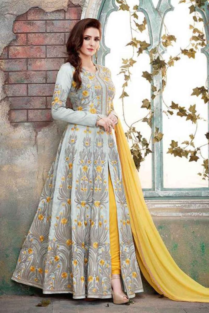 Vintage-Yellow-Anarkali-Suits-Designs-Online-Engagement-Ceremony